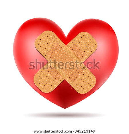 heart with adhesive bandage. vector - stock vector