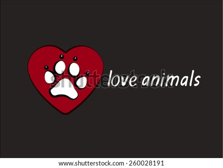 Heart with animal's footprints. love animals - stock vector