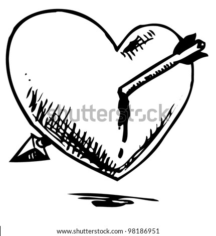 Heart with arrow. Hand drawing sketch vector illustration isolated on white background - stock vector