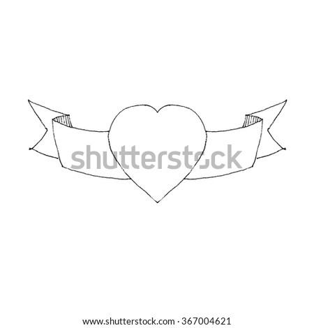 Heart with banner - stock vector