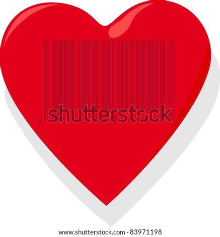 Heart with barcode - stock vector