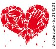 heart with blood red hands - stock vector