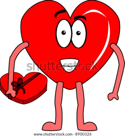 Heart With Box Of Chocolates Vector