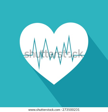 Heart with cardiogram icon. Heart and cardiogram symbol. Flat vector illustration  - stock vector