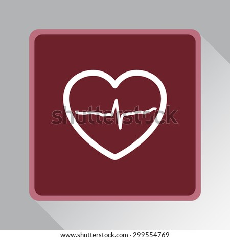 Heart with cardiogram sign icon, vector illustration. Flat design style
