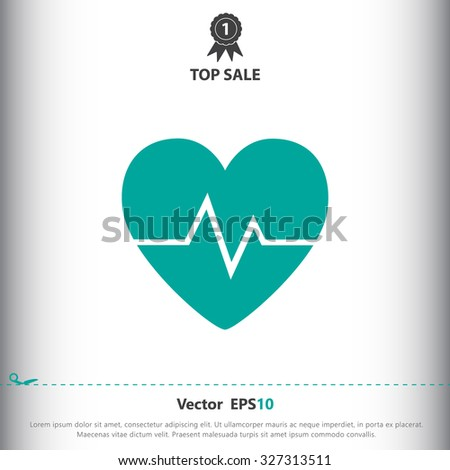 Heart with cardiogram sign icon, vector illustration. Flat design style for web and mobile. - stock vector