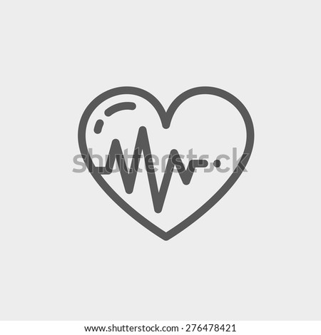 Heart with cardiogramicon thin line for web and mobile, modern minimalistic flat design. Vector dark grey icon on light grey background. - stock vector