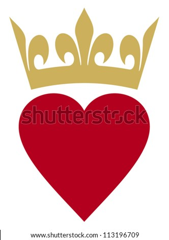 heart with crown (heart and crown) - stock vector