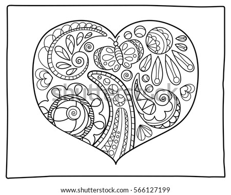 doodle heart coloring page set hearts coloring vector stock vector 504943000 4277