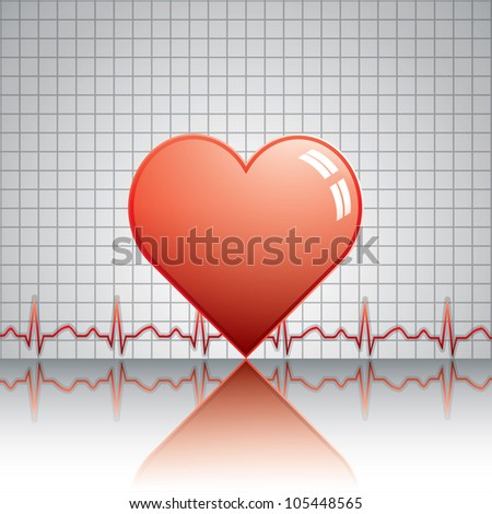 Heart with ekg.Medical vector