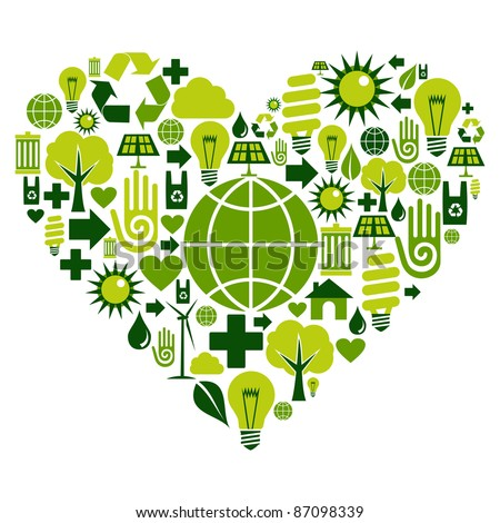 Heart with environmental icons in green . Vector file available.