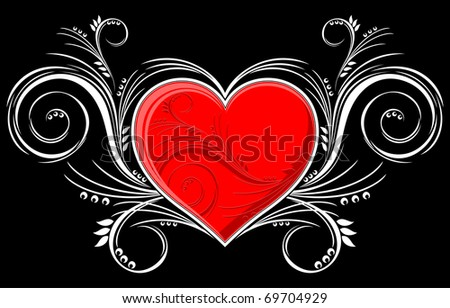 heart with floral ornaments isolated on black background, individual objects very easy to edit in vector format