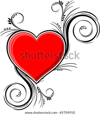 heart with floral ornaments isolated on white background, individual objects very easy to edit in vector format - stock vector