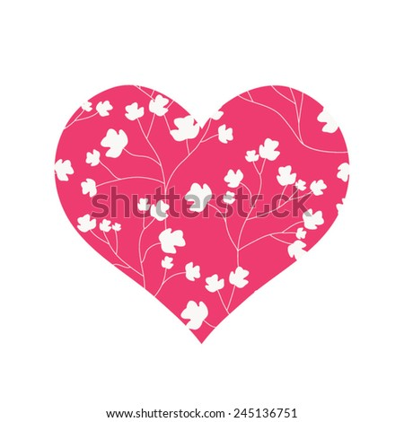 Heart with flowers - stock vector