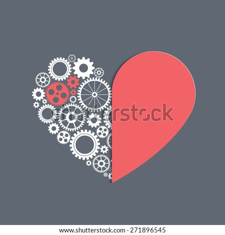 heart with gears, vector background for your design - stock vector