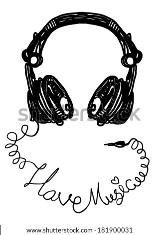 Heart with headphones - the concept of a music lover - vector jack connectors music calligraphy - stock vector