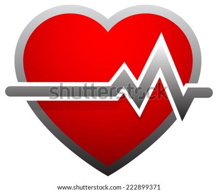Heart with heartbeat, heart rate. ECG, EKG, electrocardiogram, cardiovascular health concepts - stock vector