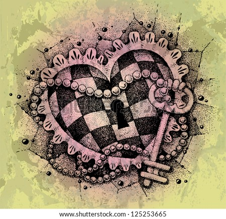 Heart with key drawn by hand - stock vector