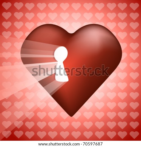 heart with keyhole illustration - stock vector