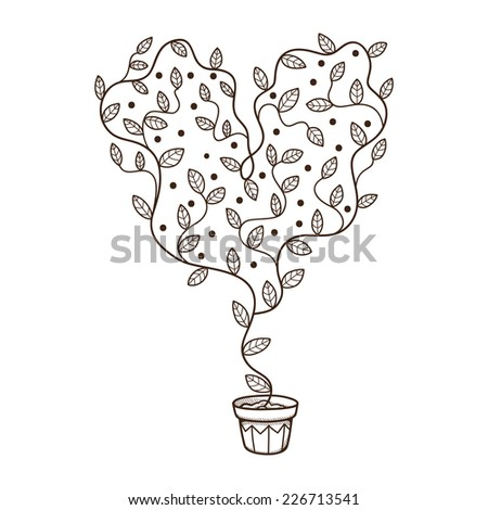 Heart with leaves and flowers growing in a pot. Sketch design element isolated on white. Eps 10 vector illustration. - stock vector
