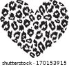 Heart with leopard print texture pattern - stock