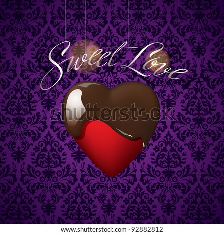 Heart with melted chocolate on background from a floral ornament