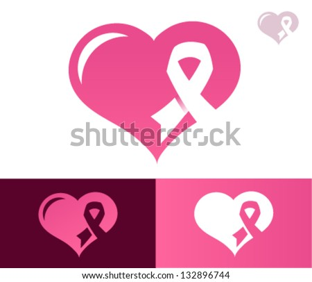 Heart Pink Ribbon Breast Cancer Awareness Stock Vector 132896744
