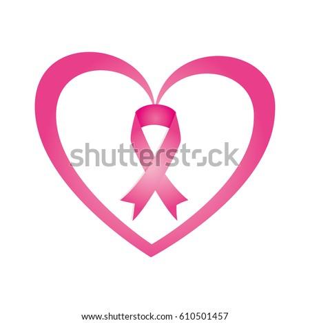 Heart Ribbon Pink Breast Cancer Stock Vector Hd Royalty Free