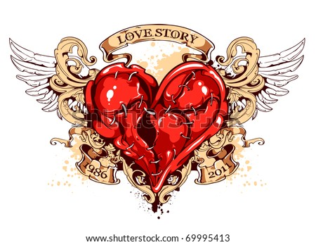 Heart with ribbons, wings and flourish pattern. Tattoo style. Layered. Vector EPS 10 illustration. - stock vector