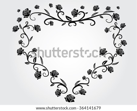 heart with roses black and white illustration - stock vector