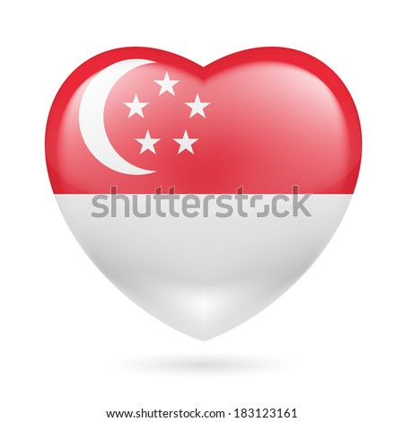 Heart with Singaporean flag colors. I love Singapore  - stock vector