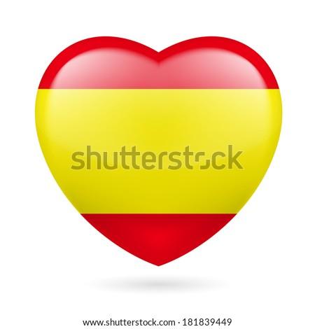 Heart with Spanish flag colors. I love Spain - stock vector