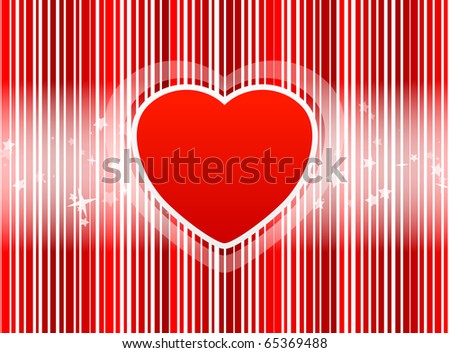 Heart with stripes red background and with star - stock vector