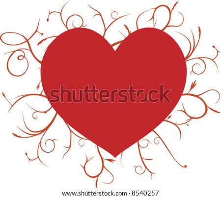 heart with swirly lines background vector - stock vector