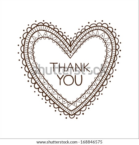 Heart with thank you text. Sketch vector illustration - stock vector