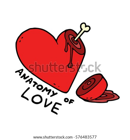 Heart Cut Part Lying Blood Bone Stock Vector 2018 576483577
