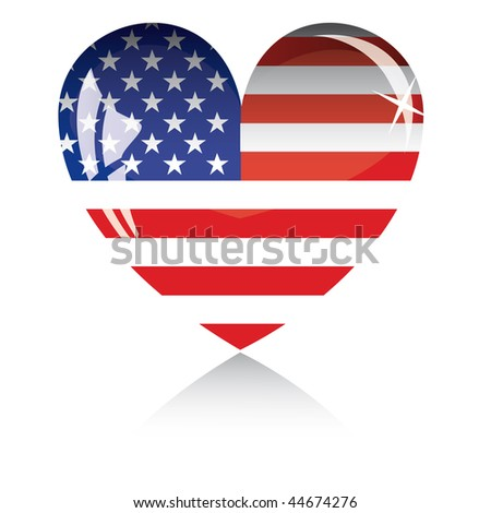 Heart with US flag texture isolated on a white background. - stock vector