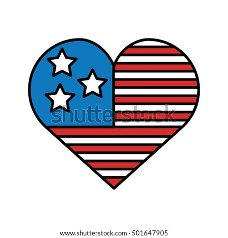 heart with usa flag icon vector illustration design