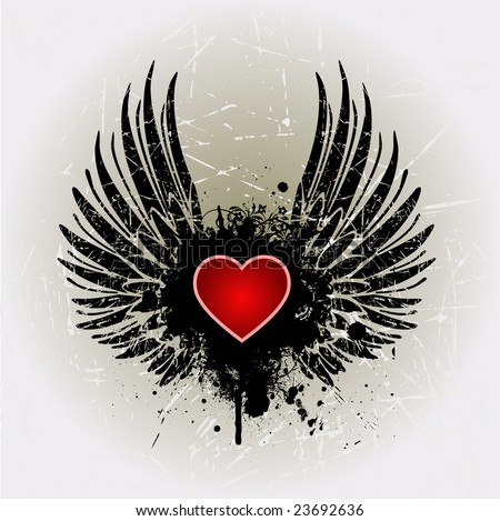 Heart with wings and banner vector illustration - stock vector