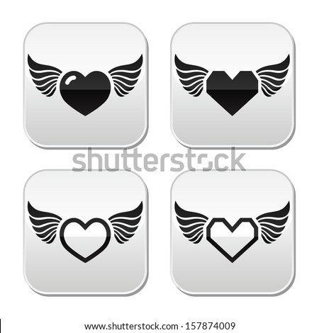Heart with wings buttons set - stock vector