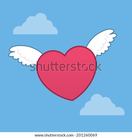 Heart with wings flying through the sky  - stock vector