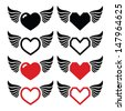 Heart with wings icons set - stock