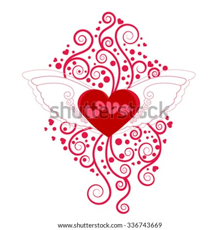 Heart with wings with floral decoration, vector illustration - stock vector