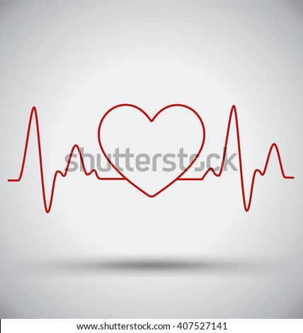 Heartbeat Connect Heart Shape and EKG, Medical Concept - stock vector