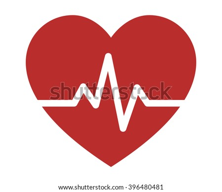 Heartbeat / heart beat pulse flat icon for medical apps and websites - stock vector