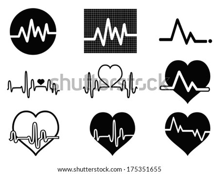 heartbeat icons - stock vector