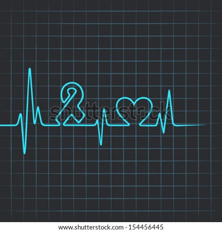 Heartbeat make aids and heart symbol - vector illustration - stock vector