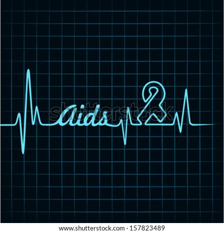 Heartbeat make aids word and symbol stock vector - stock vector