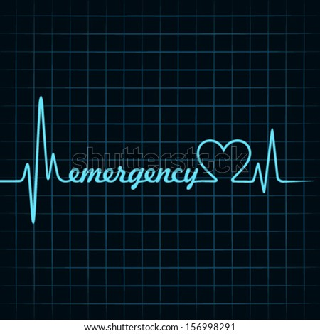 heartbeat make emergency text and heart symbol stock vector - stock vector