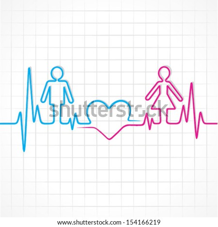 Heartbeat make male,female and heart symbol stock vector - stock vector